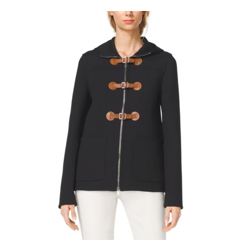 MICHAEL KORS COLLECTION Hooded Crepe Toggle Coat BLACK