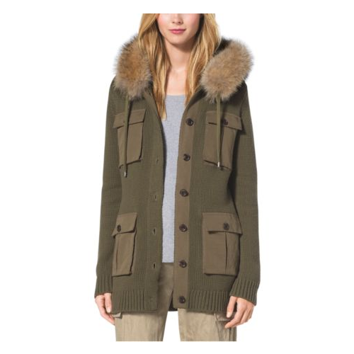 MICHAEL KORS COLLECTION Fox Fur-Trimmed Cotton And Cashmere Hoodie JUNIPER