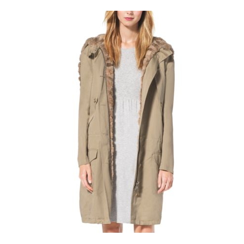 MICHAEL KORS COLLECTION Sable-Lined Cotton And Linen Anorak Cape SAND