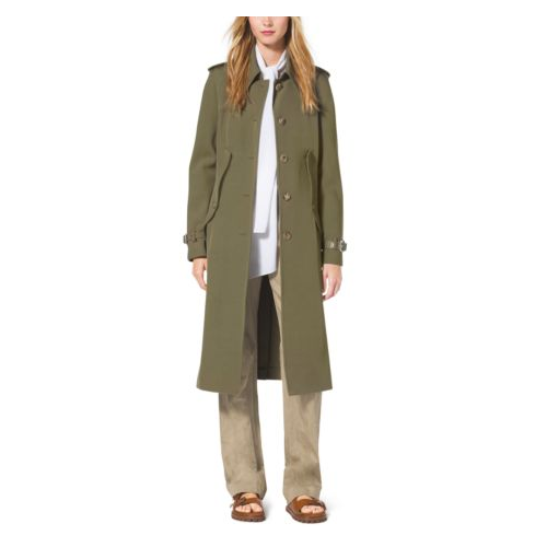 MICHAEL KORS COLLECTION Wool-Gabardine Trench Cape JUNIPER
