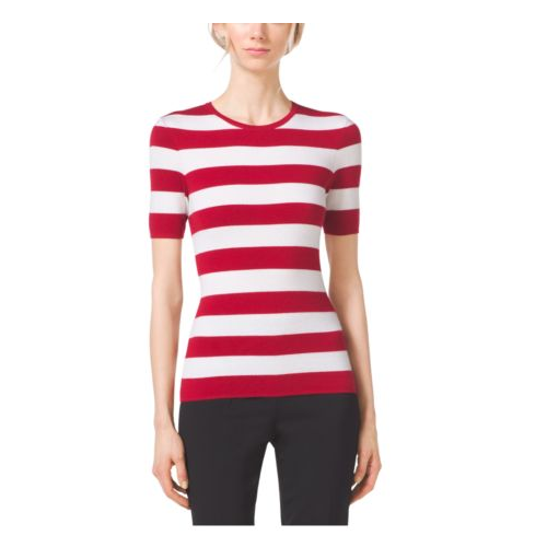 MICHAEL KORS COLLECTION Striped Cashmere Crewneck CRIMSON
