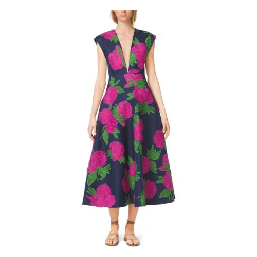 MICHAEL KORS COLLECTION Peony-Embroidered Silk-Wool Mikado Plunge Dress INDIGO