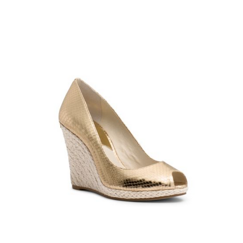 MICHAEL MICHAEL KORS Keegan Metallic Embossed-Leather Wedge PALE GOLD