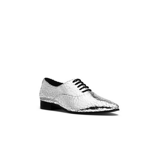 MICHAEL MICHAEL KORS Lottie Metallic Crackled-Leather Oxford SILVER