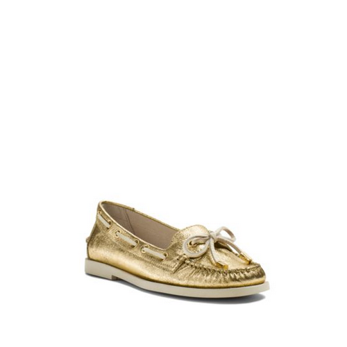MICHAEL MICHAEL KORS Blair Metallic Crinkled-Leather Moccasin GOLD
