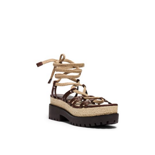 MICHAEL MICHAEL KORS Kellan Runway Leather And Jute Sandal NUTMEG