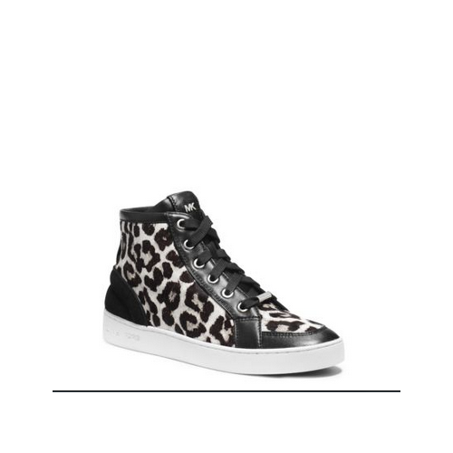 MICHAEL MICHAEL KORS Keaton Hair Calf High-Top Sneaker BLACK/WHITE