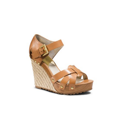 MICHAEL MICHAEL KORS Somerly Leather Espadrille Wedge PEANUT