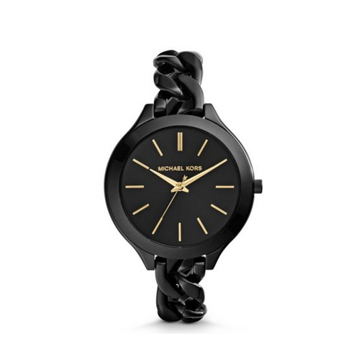MICHAEL KORS Slim Runway Shiny Black Chain-Link Watch