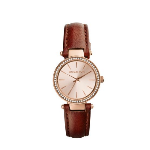 MICHAEL KORS Petite Darci Rose Gold-Tone Leather Watch