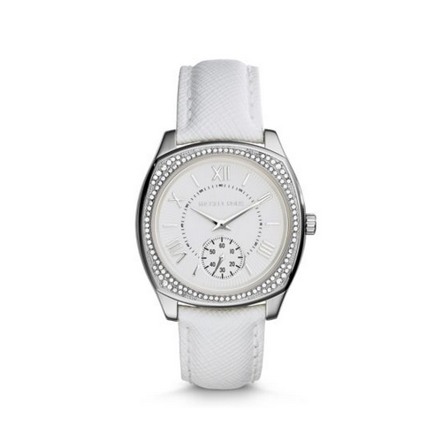 MICHAEL KORS Bryn Silver-Tone Leather Watch