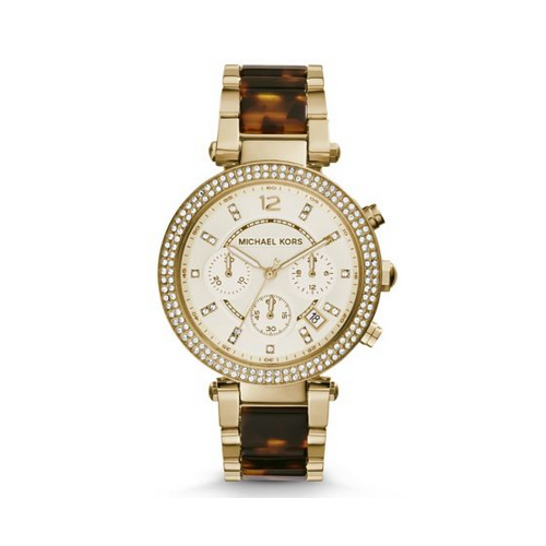 MICHAEL KORS Parker Gold-Tone Tortoise Acetate Watch