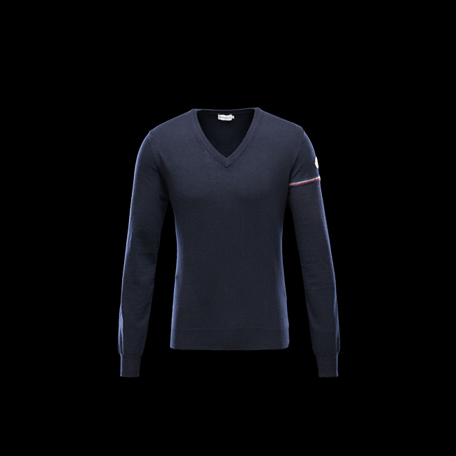 MONCLER MEN V-neck BLUE