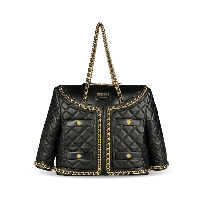Moschino Large leather bag BLACK