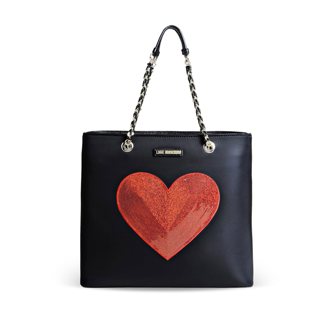Love Moschino Medium fabric bag BLACK