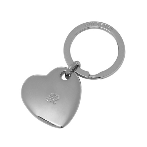 Mulberry Heart Keyring Silver Metal