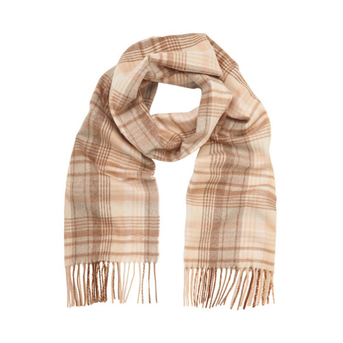 Mulberry Check Scarf Putty Pink Merino Cashmere Blend