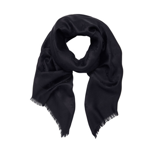 Mulberry Monogram Block Coloured Scarf Midnight Blue Star Jacquard