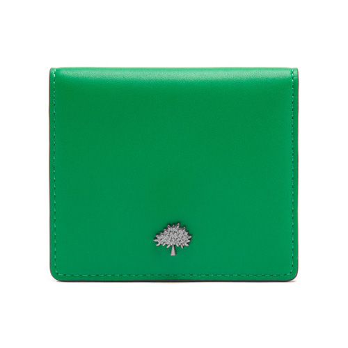 Mulberry Tree Card Case Sea Blue & Jungle Green Lamb Nappa