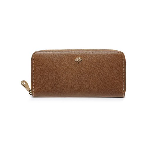 Mulberry Tree Zip Around Wallet Oak Natural Leather