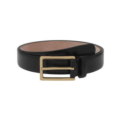 Mulberry Long Buckle Belt Black Smooth Classic With Soft Gold