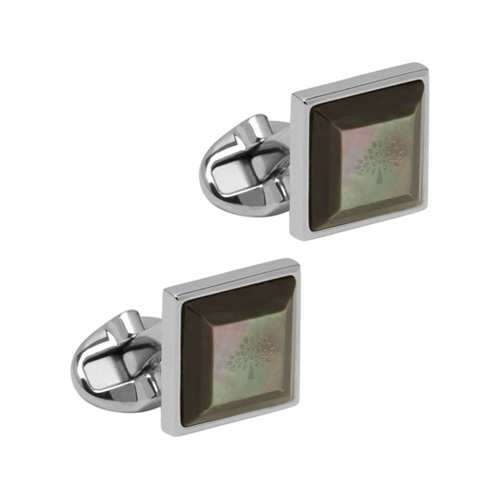 Mulberry Tapered Square Cufflinks Black Mother of Pearl Silver Plated