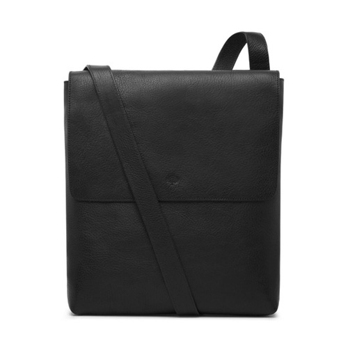 Mulberry Reporter With Flap Black Natural Leather