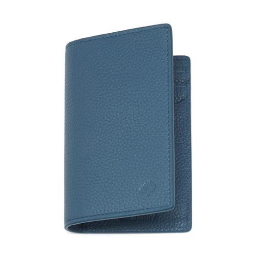 Mulberry Card Wallet Steel Blue Small Classic Grain