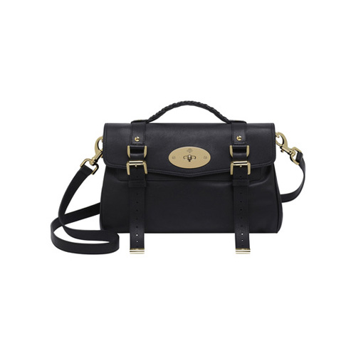 Mulberry Alexa Black Polished Buffalo With Soft Gold
