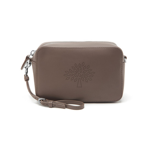 Mulberry Blossom Pochette with Strap Taupe Calf Nappa