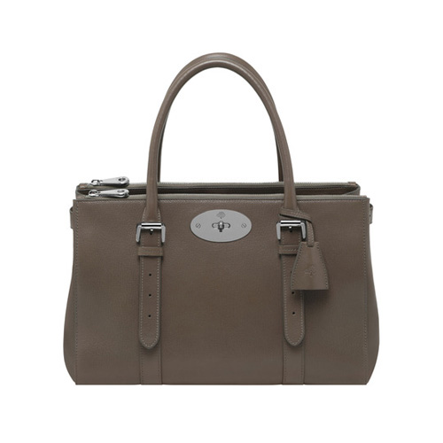 Mulberry Bayswater Double Zip Tote Taupe Shiny Goat