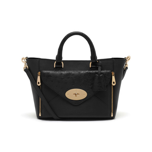 Mulberry Small Willow Tote Black Silky Classic Calf & Ostrich