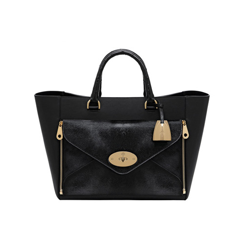 Mulberry Willow Tote Black Mixed Exotic