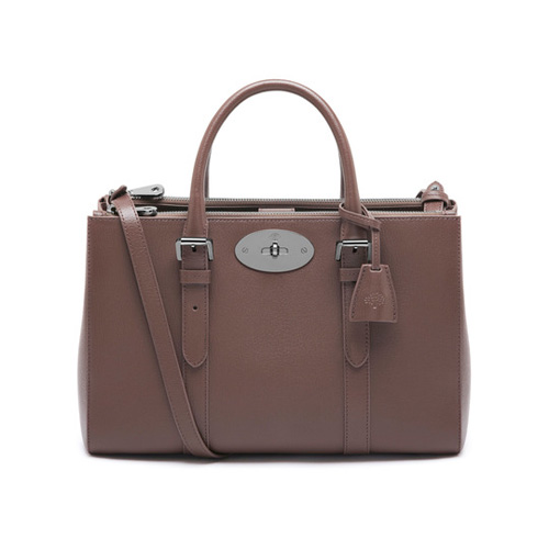 Mulberry Small Bayswater Double Zip Tote Taupe Shiny Goat