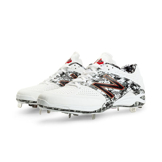 MEN'S New Balance Pedroia Low-Cut 4040v2 Metal Cleat White with Black