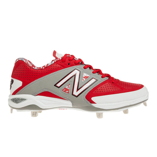 MEN'S New Balance Low-Cut 4040v2 Metal Cleat Grey with Red & White