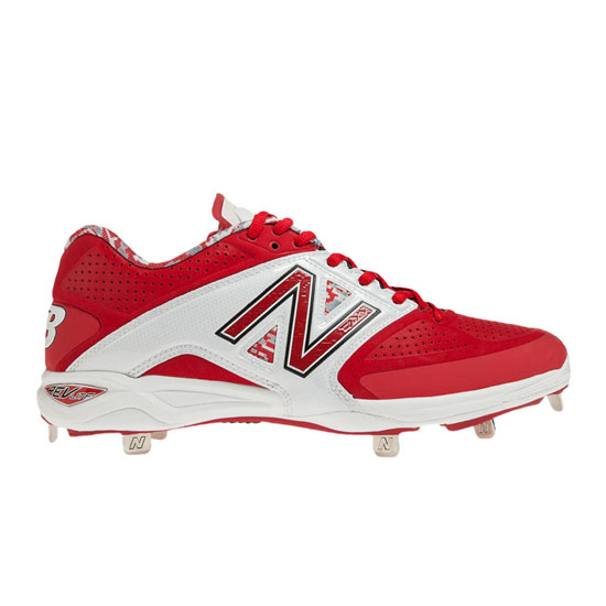 MEN'S New Balance Low-Cut 4040v2 Metal Cleat White with Red
