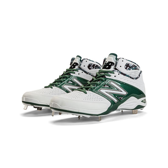MEN'S New Balance Mid-Cut 4040v2 Metal Cleat White with Green