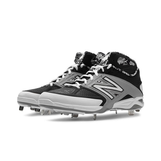 MEN'S New Balance Mid-Cut 4040v2 Metal Cleat Black with Grey & White