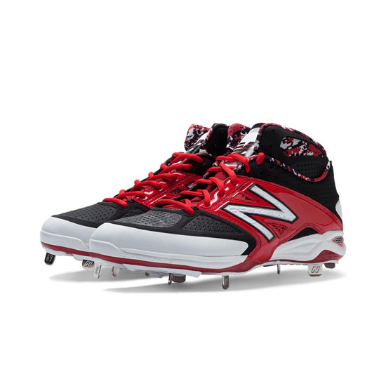 MEN'S New Balance Mid-Cut 4040v2 Metal Cleat Red with Black & White