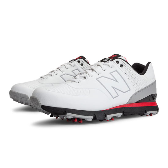 MEN'S New Balance Golf Leather 574 White with Red & Black