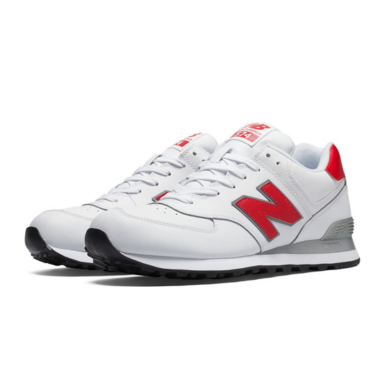 MEN'S New Balance Leather 574 White with Red