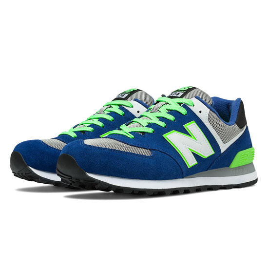 MEN'S New Balance 574 Blue with Lime