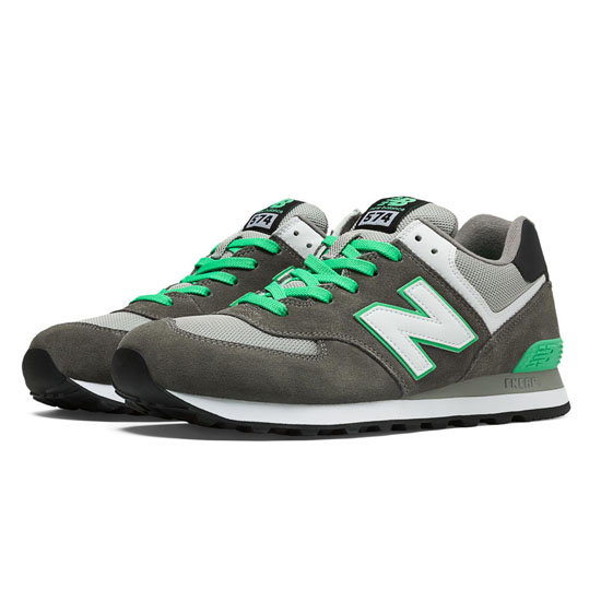 MEN'S New Balance 574 Dark Grey with Green Oasis & Grey