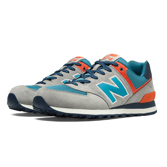 MEN'S New Balance Out East 574 Tan with Cadet Blue & Orange