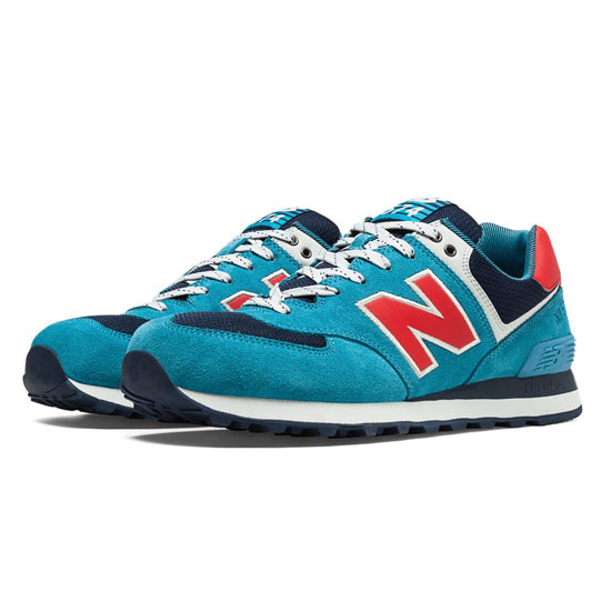 MEN'S New Balance Out East 574 Cadet Blue with Navy & Orange