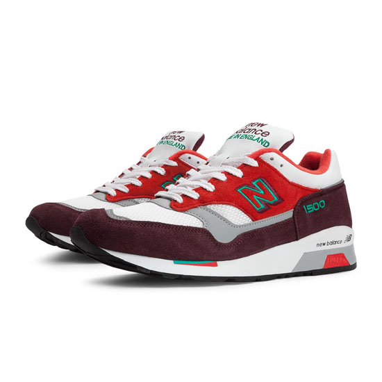 MEN'S New Balance Made in UK 1500 Red with Burgundy & White