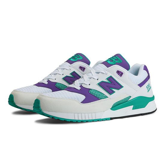 MEN'S New Balance 90s Running 530 White with Purple & Teal
