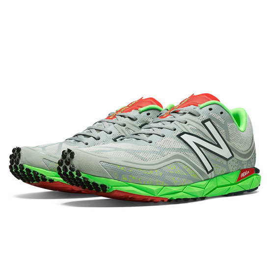 MEN'S New Balance 1600v2 Spikeless Silver with Lime Green & Red