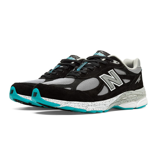 MEN'S New Balance 990v3 Black with Light Grey & Blue Atoll